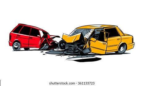 two cars involved in a car wreck. comic style illustration isolated on a white background