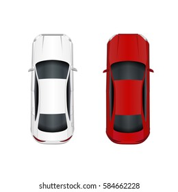Two cars. White and red. Isolated on white background. Vector illustration