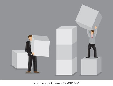 Two cartoon business persons holding huge building block. Creative vector illustration for building business from scratch concept isolated on grey background.