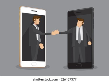 Two cartoon businessmen reaching out from mobile phones for a handshake. Creative vector illustration on concept of the role of technology in business isolated on grey background.