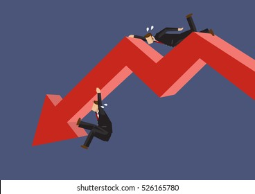Two cartoon businessmen struggling to hang on a red bold arrow depicting a downward trend. Creative vector illustration on metaphor for working hard in poor performing business.