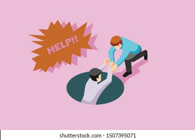 Two cartoon characters helping, lend a hand in needs, show the guide concept, vector illustration.