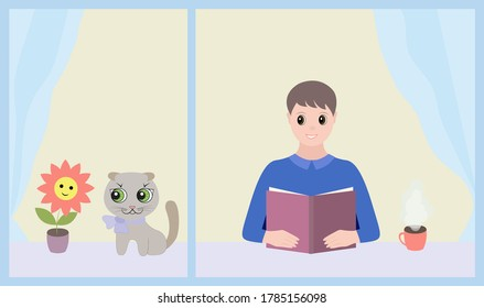 Two cartoon characters. A young man at the window and reads a book, next to him near a flower on the windowsill sits a cat. Vector flat Illustration.