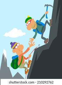 Two cartoon climber climbing a peak.