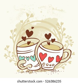 Two cartoon cups fall in love, vector illustration