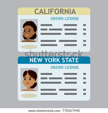 two cartoon driver license template african stock vector royalty