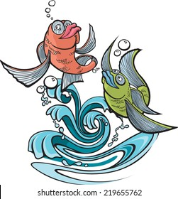 Two cartoon fish jumping out of water. Layered vector file available.   One Fish Two Fish