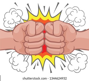 Two cartoon fists hands performing a fist bump punch creating an explosion