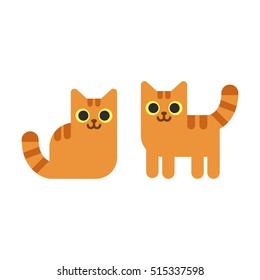 Two cartoon ginger cats, standing and sitting. Simple geometric flat vector illustration.
