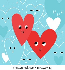 Two cartoon hearts are looking at each other, while other hearts are watching them. Square postcard with emotional symbols of Valentine's Day. Vector stock illustration.