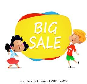 Two cartoon kids dance near banner big sale .Vector horizontal banner with cartoon children.
