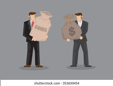 Two cartoon man, one holding a sack with label reads Goods and the other carrying a sack with dollar sign. Vector illustration on business trade and transaction concept isolated on grey background.