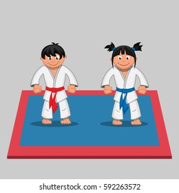 Two cartoon martial arts fighter in the ring