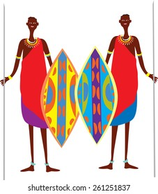 Two cartoon Masai warriors with brightly colored shields and spears