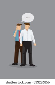 Two cartoon men in work attire gossiping in discreet. Vector illustration for concept on workplace gossip and office politics isolated on grey background.