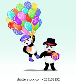 Two Cartoon Panda Bear With Birthday Balloons And Gifts Background EPS 10 Vector