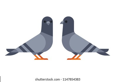 Two cartoon pigeons in modern geometric flat design style. Isolated vector icon illustration.