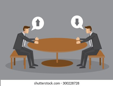 Two cartoon professionals cannot meet eye to eye in business meeting at round table. Vector illustration isolated on plain grey background.