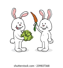 Two cartoon rabbits sharing food