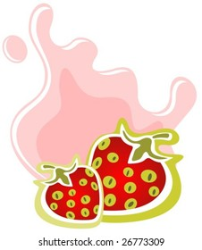 Two cartoon strawberries and milk on a white background.