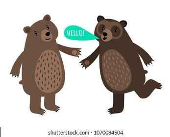Two cartoon style bears with speech bubble isolated on white background