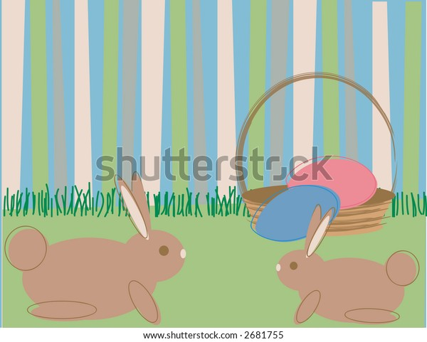 Two cartoon style rabbits on green grass with a contemporary striped background, all in Spring colors, space for a greeting or banner.