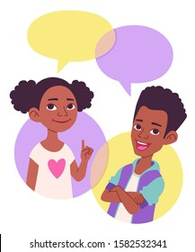 Two cartoon style school kids vector illustration, comics speak bubbles with empty space for text. Black African American children talking, asking and answering questions, advising, helping.