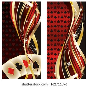 Two casino banners with poker elements, vector illustration