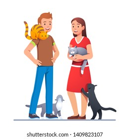 Two cat lovers meeting with their pets and talking. Cats siting on shoulder, petting in hands, walking on floor and reaching paw. Felinophile couple. Flat style vector character illustration