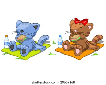 two cats have lunch