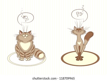 Two cats illustration. Cats dream about delicious food. Vector  with warm colors