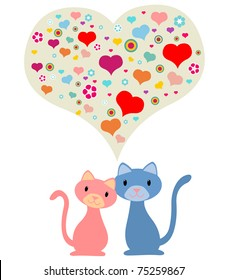 Two cats in love with a heart shape