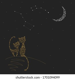 Two cats in love sit next to each other at night. Vector image drawn with dots. A cat and a cat look at the constellations of URSA major and URSA minor. Greeting card with gold elements.