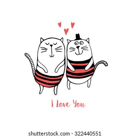 Two cats in love. Vector illustration
