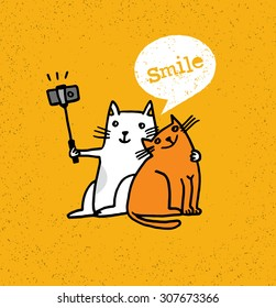 Two Cats Making Photo Using Selfie Stick. Funny Animal Illustration On Distressed Background