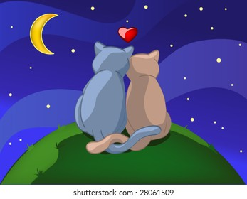 two cats in night (editable layers)