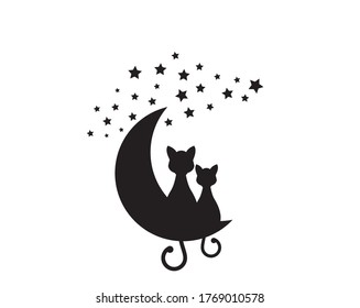 Two cats silhouettes sitting on the moon, vector. Cartoon character. Wall decals, artwork, minimalist wall art, poster design isolated on white background