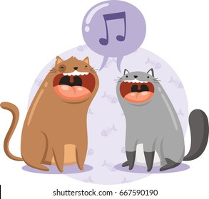 two cats singing together