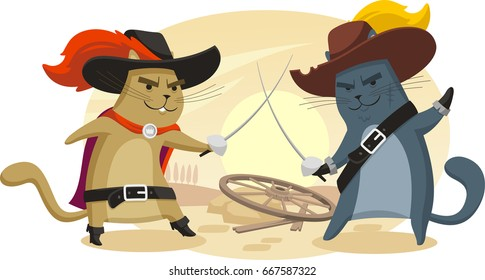 two cats with swords fighting dressed as musketeers