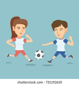 Two caucasian sportswomen playing football. Young football players fighting over the control of a ball during a football match. Sport and leisure concept. Vector cartoon illustration. Square layout.