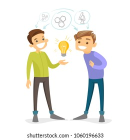 Two caucasian white students studying together. Students sharing with the ideas during brainstorming. Concept of study, teamwork, education. Vector cartoon illustration isolated on white background.