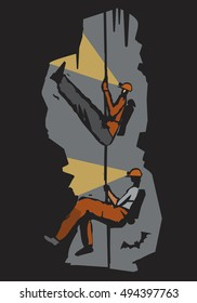 Two cavers in the cave. Stylized Illustration imitating lino cut. Vector