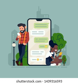 Two characters chatting via smartphone app. Flat vector illustration on texting, online communication. Social media concept illustration with cacucasian man and african woman interchanging messages