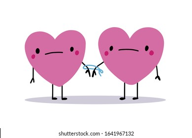 Two characters heart form connected by rope together hand drawn vector illustration in cartoon comic style toxic realtions print poster