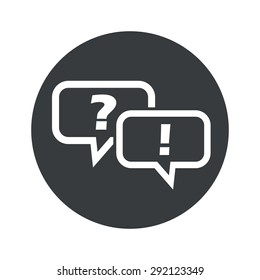Two chat bubbles with question and exclamation marks in black circle, isolated on white