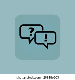 Two chat bubbles with question and exclamation marks in square, on pale blue background