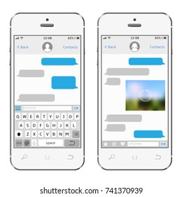 Two chat screens templates on white smartphones