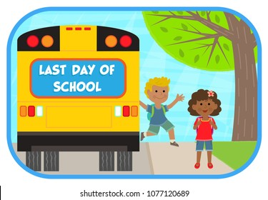 two cheerful children are getting off a school bus that says last day of school. Eps10