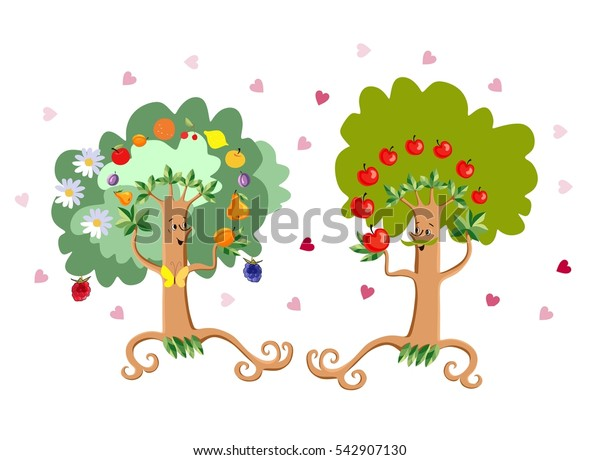Two cheerful fairy-tale dancing trees in the form of stylized man and woman on white background with hearts. Wedding invitation. Save the date. Greeting card Happy valentines day! Vector illustration.