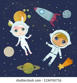 Two cheerful kids in outer space. Cartoon astronauts characters. Poster or card design.